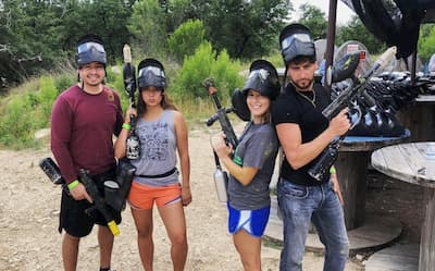 teens at youth paintball event